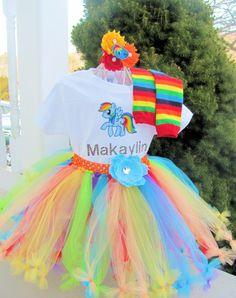 Makayla's bday party ensemble idea-Idea 1-Etsy listing at https://www.etsy.com/listing/182153161/my-little-pony-tutu-rainbow-dash-tutu