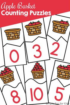Practice counting and fine motor skills with these printable Apple Basket Counting Puzzles! This printable covers numbers 0 through 10 for preschoolers and kindergarteners and is a part of the 7 Days of Apple Printables for Kids series. Fun Activities For Preschoolers, Apple Activities, Autumn Activities For Kids, Counting Puzzles, Counting Activities, Kindergarten Activities, Number Activities, Teaching Math, Numbers Preschool