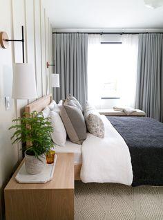 Drapery from Tonic Living in Creative Director, Mandy Milks' Bedroom Home Decor Kitchen, Home Decor Bedroom, Living Room Decor, Bedroom With Couch, Bedroom Crafts, Bedroom Beach, Bedroom Country, Budget Bedroom, Bedroom Rustic
