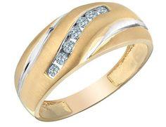 Mens Diamond Wedding Band 1/4 Carat (ctw) in 10K Yellow Gold