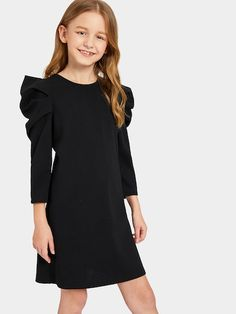 To find out about the Girls Puff Sleeve Solid Dress at SHEIN, part of our latest Girls Dresses ready to shop online today! Girls Dresses Online, Dresses Kids Girl, Kids Outfits Girls, Girl Outfits, Cute Outfits, Dress Online, Girls Fashion Clothes, Tween Fashion, Fashion Outfits