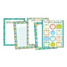 Dots on Turquoise Classroom Essentials Chart Set, CTP7950