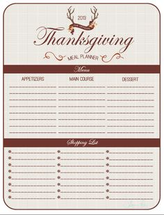 <3 Thanksgiving Meal Planner <3  The official 2013 Thanksgiving Meal Planner  Julieann Thiry GetCreditSmart.com