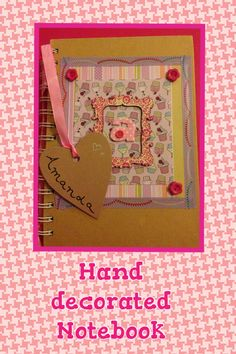Handmade notebook using patterned paper, washi tape, buttons, decorated wooden frame @ fabric letter created by Reilly-West our Service & Quality manager Fabric Letters, Framed Fabric, Service Quality, Handmade Notebook, Decorate Notebook, Washi Tape, Wooden Frames, Paper Crafts, Buttons