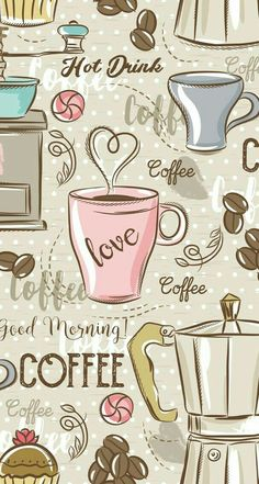 Wallpaper iphone more mobile wallpaper, iphone wallpaper coffee, pattern wallpaper iphone, holiday iphone I Love Coffee, Coffee Art, My Coffee, Happy Coffee, Coffee Drawing, Coffee Painting, Coffee Scrub, Morning Coffee, Coffee Cups