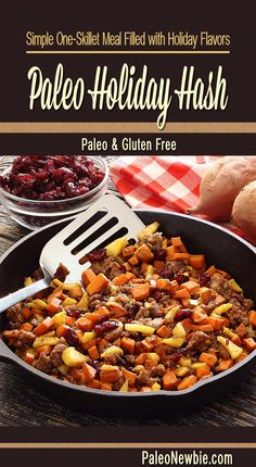 All-in-one dish with sausage, apples, sweet potatoes, cinnamon, fall spices, maple, and cranberries. Awesome as an elegant side or with scrambled eggs for breakfast.