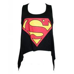 Punkyfish Asymmetric Superman Crop Vest White ($8.10) ❤ liked on Polyvore