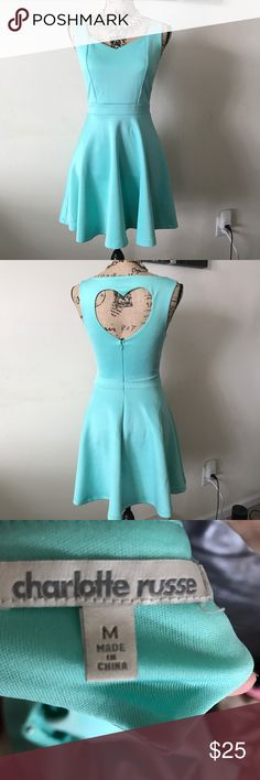 Charlotte Russe Blue Fit and Flare Dress Heart Great Condition. Hidden zipper back. Only worn twice. Offers welcome!  Bundles Welcome! Charlotte Russe Dresses Mini