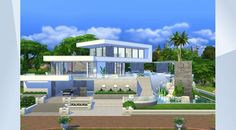 Sieh dir dieses Grundstück in der Die Sims 4-Galerie an! - The pinnacle of #modern #luxury, this #mansion sized #family home is very detailed throughout. Each room is gallery worthy and followers might recognize the kitchen and living area :) Six bdr's, 7 baths, study, creative studio, poolside BBQ/bar, romantic hot tub, playground, fire pit, many conversation areas... most everything you need and lots of space to add w/e you'd like. MOO used, #nocc.