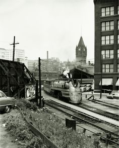 Over the course of ten years, photographers Jeff Brouws and Wendy Burton have put together a collection of 250 railroad photos from the late nineteenth t. Milwaukee Skyline, Milwaukee Road, Milwaukee Wisconsin, Time Travel Machine, Rail Transport, Railroad History, Trains, Gods Creation, Train Travel