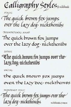 Nick the Nibs different handwriting styles Calligraphy Practice, Calligraphy Handwriting, Calligraphy Alphabet, Penmanship, Handwriting Examples, Calligraphy Drawing, Islamic Calligraphy, Cursive, Hand Lettering Fonts