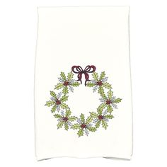 E by Design Holiday Wishes Traditional Holly Wreath Floral Print Kitchen Towel - KTHFN674GR10RE6