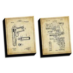 Found it at Wayfair - 'Gun Vintage 2 Patent Drawings' 2 Piece Graphic Art on Canvas Set