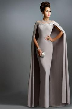 LOVE Prom Dresses Janique Dresses Champange Chiffon Long Mermaid Mother of the Bride Dresses With Cape 2015 Long Formal Evening Gowns abendkleider Elegant Dresses, Pretty Dresses, Unique Dresses, Stylish Dresses, Simple Dresses, Mothers Dresses, Bride Dresses, Wedding Dresses, Wedding Outfits