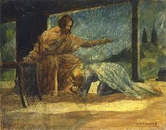 Artist: Henry Ossawa Tanner  Title: Mary Washing the Feet of Christ  Medium: Painting-oil on panel  Dimensions: Location: Private Collection