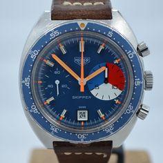 Vintage Heuer Skipper 73463 Blue Steel Chronograph Valjoux 7734 Wristwatch MINT! #Heuer #LuxurySportStyles
