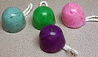 a pretty simple soap to make and the basis is a bath poof. That's what gives it color.