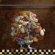 Here's another James Christensen piece. Not a die-heart fan of Christensen's style, but I do like some of the themes he addresses in his art. For example, this one's about how you can't take everything with you when holding on to the iron rod.