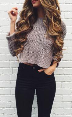 #AGAIN crop sweater + #topshop jeans