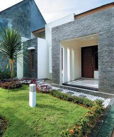 Teras Depan Rumah Dengan Kombinasi Batu Alam Home In 2018