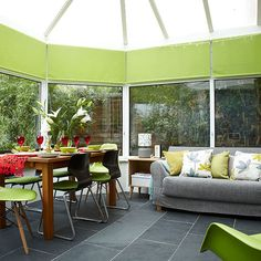 Conservatory with lime green accents | Conservatory decorating | Style at Home | Housetohome.co.uk
