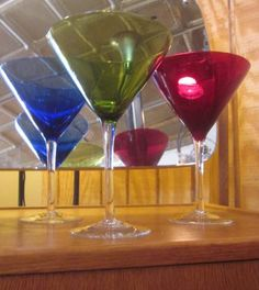 Vintage Red Green and Blue Martini Glass Set by thelazydogantiques