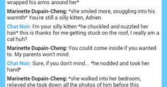 A conversation between Marinette Dupain-Cheng and Chat Noir | Fandom Stuff | Pinterest | Love this, Love and Gold