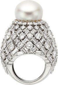 Estate Jewelry:Rings, Emerald, South Sea Cultured Pearl, Diamond, Platinum, Gold Ring,David Webb. ...