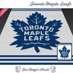 Toronto Maple Leafs crochet blanket pattern; cross stitch graph; pdf download;