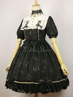 397cfad3889 Lolitashow Starry Sky Lolita Dress OP Black Lolita Dress Bow Ruffles Short  Sleeve Constellation Lolita Dress
