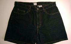 Calvin Klein Women's Black Overdye Denim Low Rider Shorts 100% Cotton Sz 12 #CalvinKlein #CasualShorts