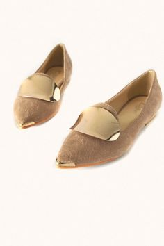 Metal Embellished Pointed-toe Flats With Matte-leather Upper