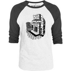 Mintage Stone Fireplace 3/4-Sleeve Raglan Baseball T-Shirt (White / Concrete)