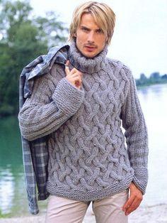 Hombres Suéter Suéter Pescador mano de punto con patrón de cable de Best Hilados de lana peruana hecho por encargo