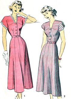 1940s Dress Pattern Advance 5027 Gored Skirt Cap Sleeve Day or Evening Dress Fit and Flare Dress Womens Vintage Sewing Pattern Bust 32 on Etsy, £18.00