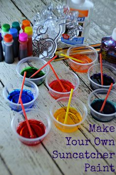Make Your Own Suncatcher Paint - My Sweet Sanity - My Sweet Sanity. Clear glue and a couple drops of food coloring! Arts And Crafts Projects, Diy Crafts For Kids, Craft Ideas, Simple Crafts, Family Crafts, Kids Diy, Toddler Crafts, Craft Tutorials, Fun Ideas