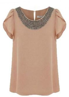 Nude Short Sleeve Bead Chiffon Blouse pictures