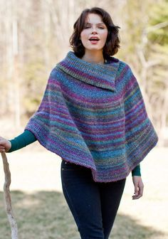 Berroco® Free Pattern | Flutterwheel. This split cowl neck poncho, Flutterwheel, is knit in two pieces. The bottom rib is added after, for ease of knitting.