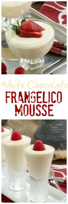 Dreamy White Chocolate Mousse spiked with Frangelico That Skinny Chick Can Bake!, Desserts, Dreamy White Chocolate Mousse spiked with Frangelico That Skinny Chick Can Bake! Elegant Desserts, Fancy Desserts, Homemade Desserts, Best Dessert Recipes, Sweet Desserts, Just Desserts, Sweet Recipes, Delicious Desserts, Italian Desserts