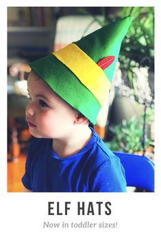 Buddy the Elf hats for toddlers and babies, made by hand. These are so perfect for Christmas photos or an easy Halloween costume