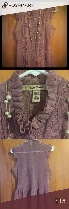Free People beautiful boho lace tank Pretty mauve color free people tank.  This is a re-posh as it did not fit (too small).  Has slight peplum at the bottom and buttons up the front.  So cute!!! Sized as medium and is stretchy, however, I feel fits more as a small or xs.  Lightly worn, very good condition!!! Free People Tops Tank Tops