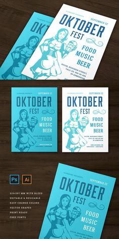 Oktoberfest party flyer or poster vintage typography editable template design willkommen zum invitation beer festival celebration. Young german girl holding beer symbol. Features: • PSD (Photoshop) files • Ai (Illustrator) files – CS2 version • 2 Color themes flyer design • Print ready • 300dpi • CMYK • 210x297mm print size 3mm bleed • Editable text