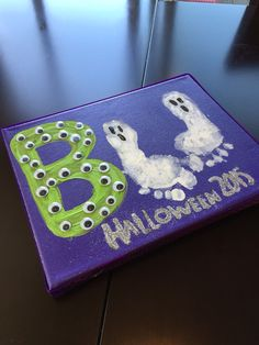 Just another Halloween craft for some toddler fun! I've seen lots of cute ways to use footprints and handprints for ghosts or spiders. My two year old was able to help glue on the googlie eyes too! Added lots of glitter and ribbon