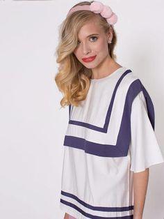 Oleta White Oversized Sailor Detail Top Ss16, Sailor, Detail, Tees, Collection, Women, Fashion, Moda, T Shirts