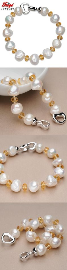 FEIGE Trendy style 10-11MM White Natural Freshwater Pearl Jewelry Bead Bracelet For Women Yellow Crystal Pulsera De Las Mujeres