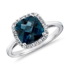 8mm Cushion London BLue Topaz & Diamond Halo Engagement Ring 14K Gold, Stone Option:Emerald/Aquamarine/Amethyst/Citrine/Morganite/Peridot......