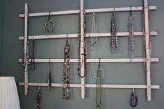 I finished my jewelry trellis. Necklace Storage, Necklace Holder, Jewelry Holder, Premier Designs, Country Life, Trellis, Ladder Decor, Decor Ideas, Craft Ideas