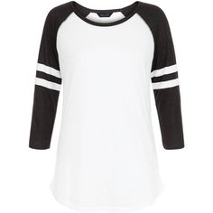 New Look Black Colour Block Stripe Raglan T-Shirt ($12) ❤ liked on Polyvore featuring tops, t-shirts, black pattern, raglan sleeve t shirts, pattern t shirt, raglan sleeve tee, pattern tees and raglan t shirt