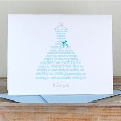 Bridal Shower Thank You Cards / Thank You Cards / Bridal Shower - Something Borrowed, Something Blue. $18.00, via Etsy.