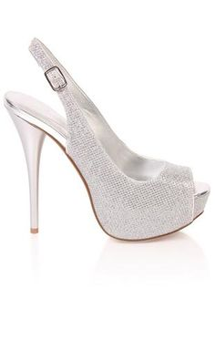 Deb Shops #silver #glitter #heel